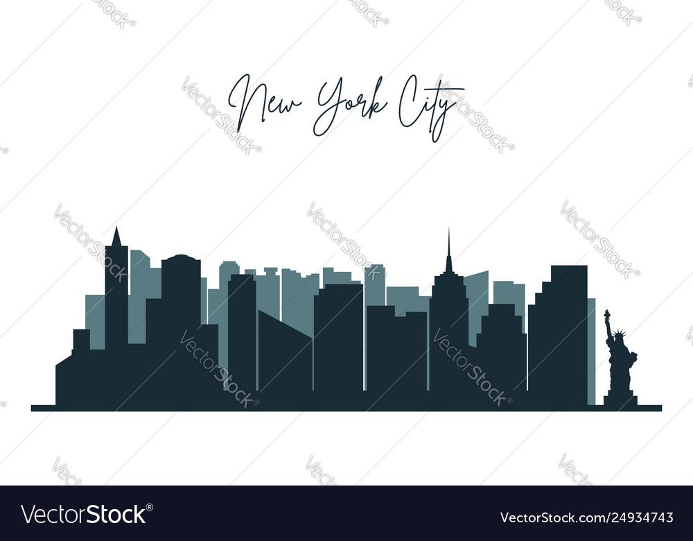 Silhouette new york city nyc urban skyline