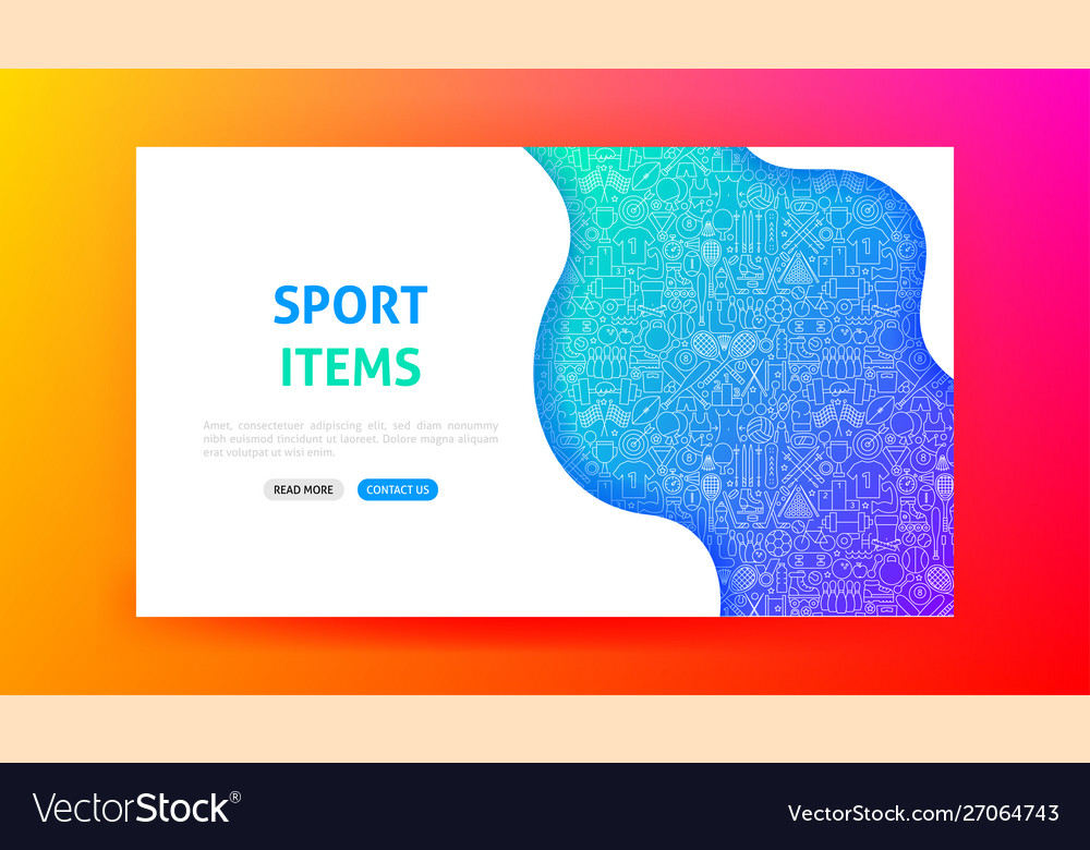 Sport items landing page vector
