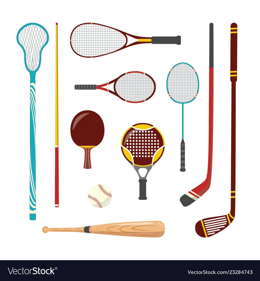 Sport racquets sticks cue and bat icon