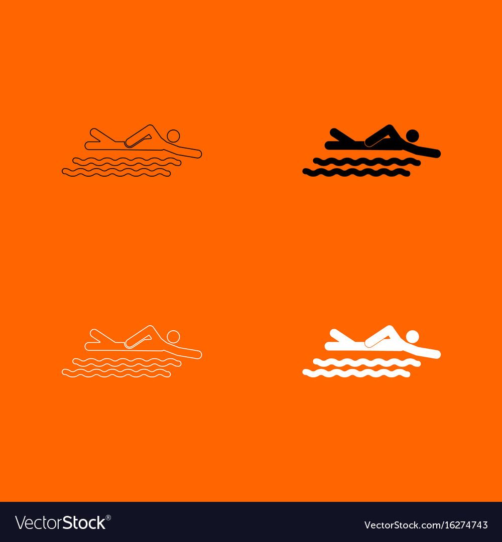 Swimming person stick icon