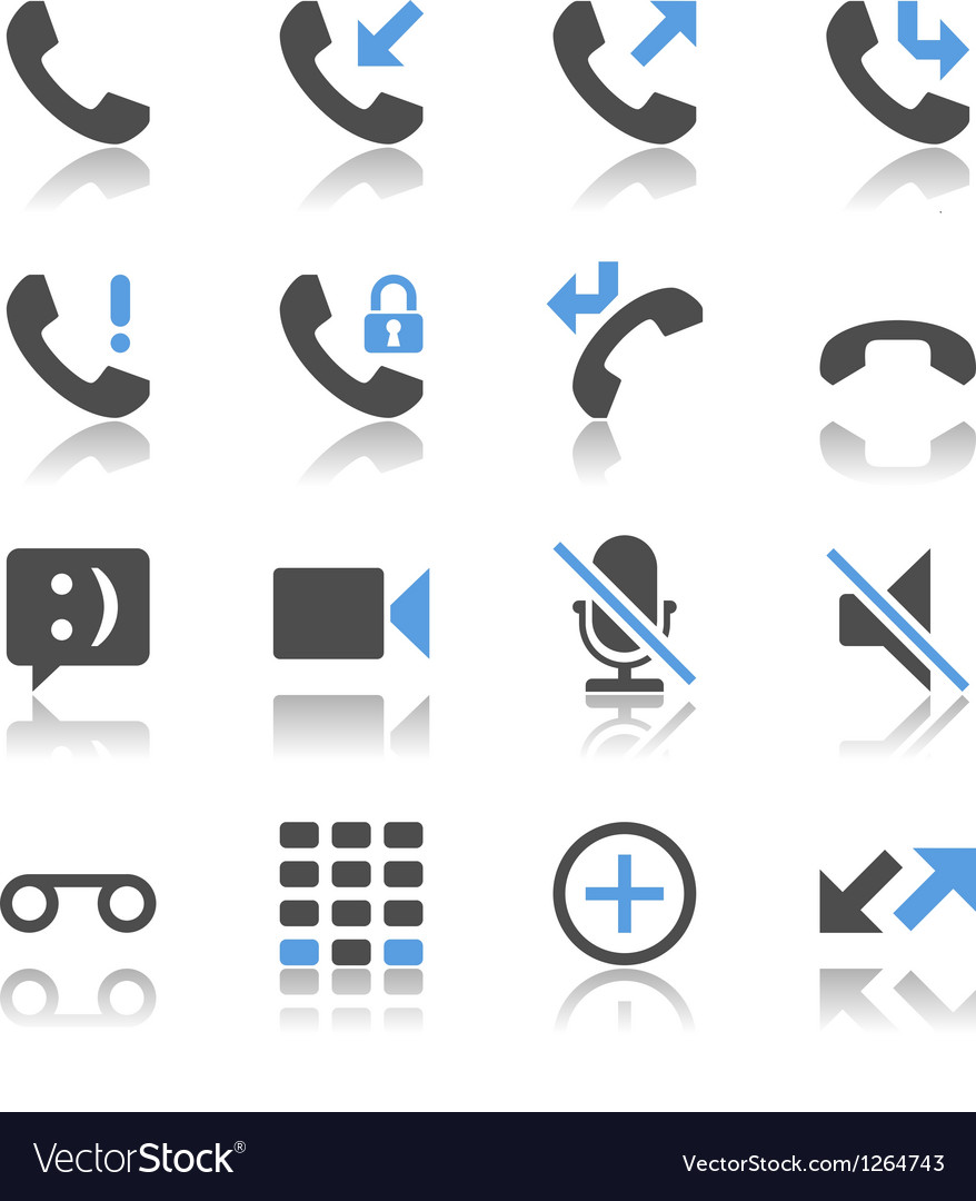 Telephone icons reflection vector image