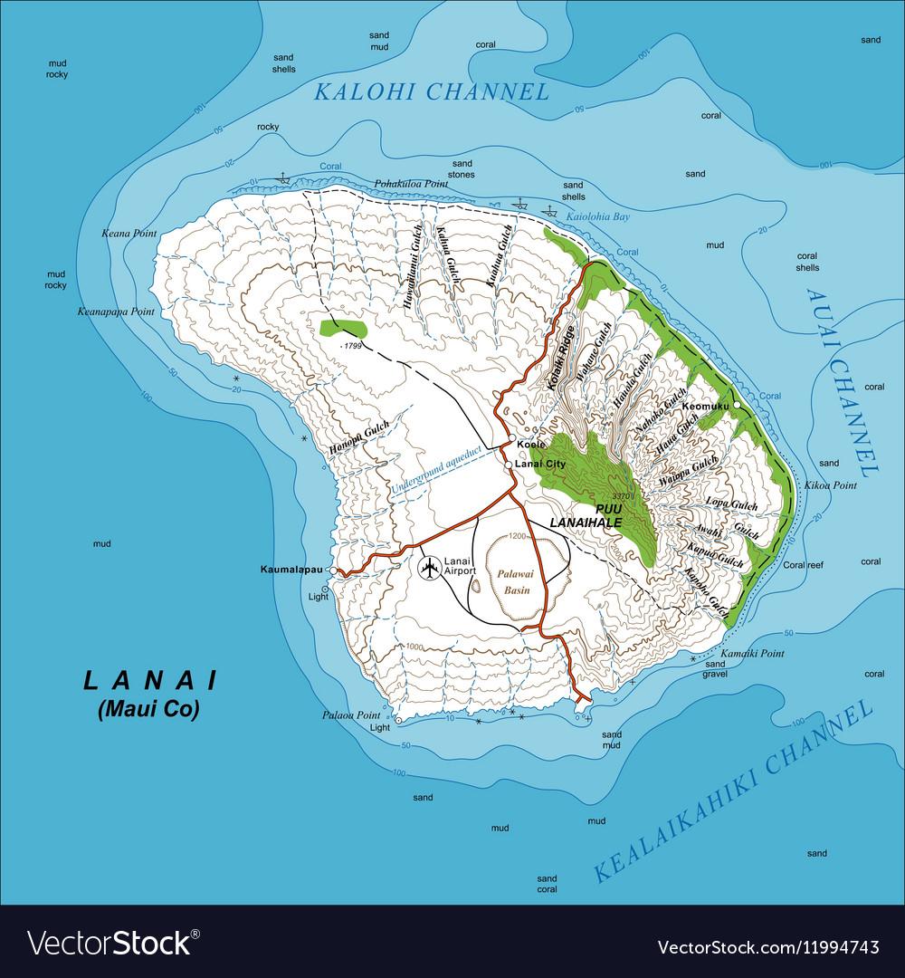 Topographic Map of Lanai Island Hawaii Royalty Free Vector
