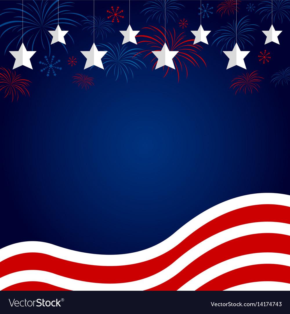 Usa flag with fireworks design on blue background