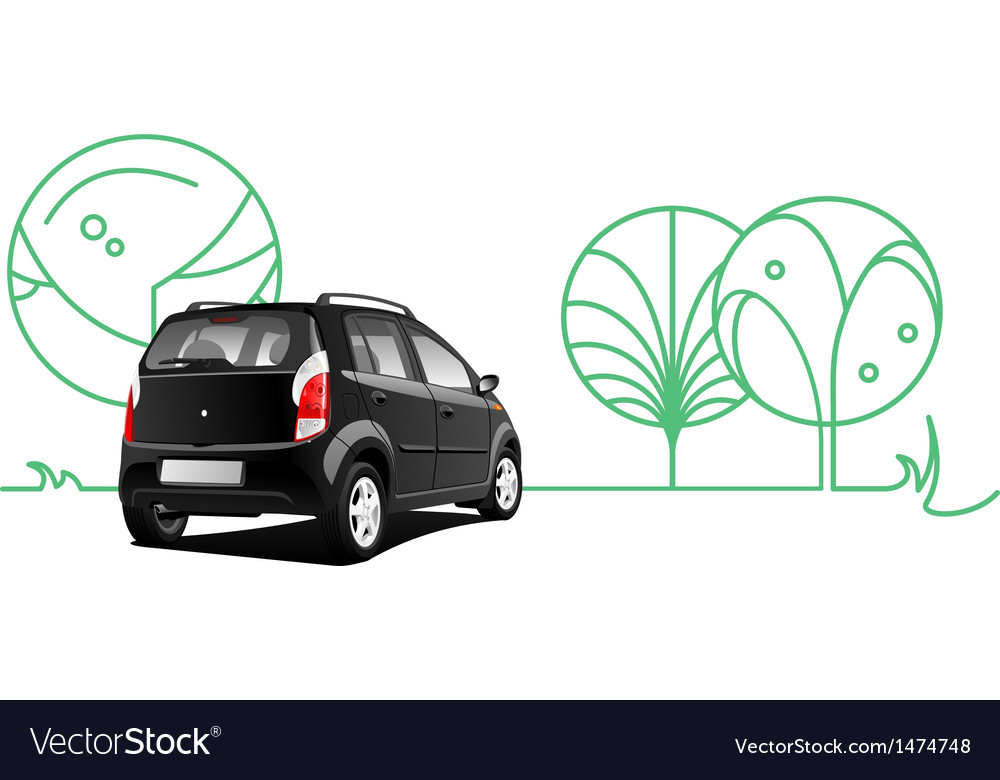Car and trees