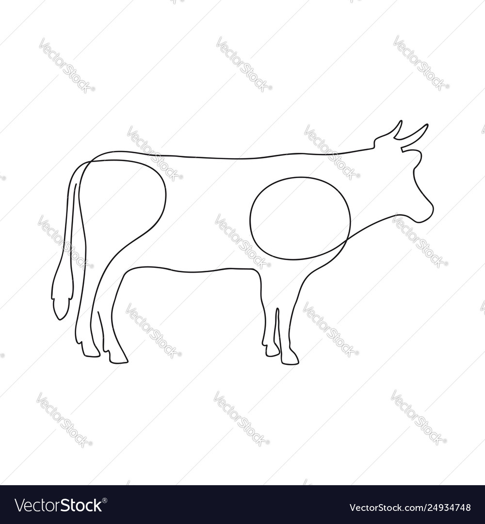 Cow one continuous line drawing