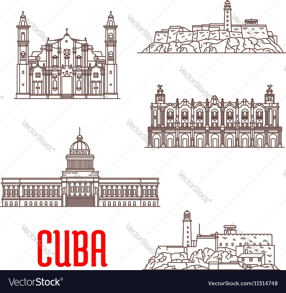 Cuba tourist architecture travel attraction icons