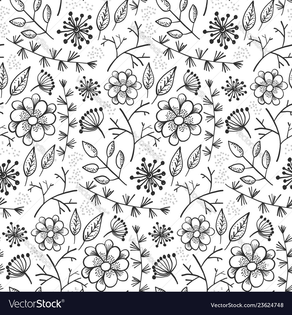 Floral Pattern With Outline Flowers And Herbs Vector Image