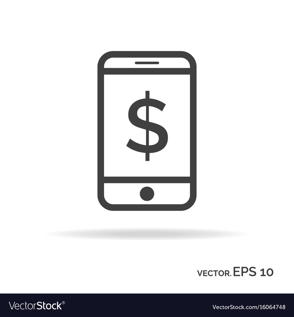 Mobile money outline icon black color vector image