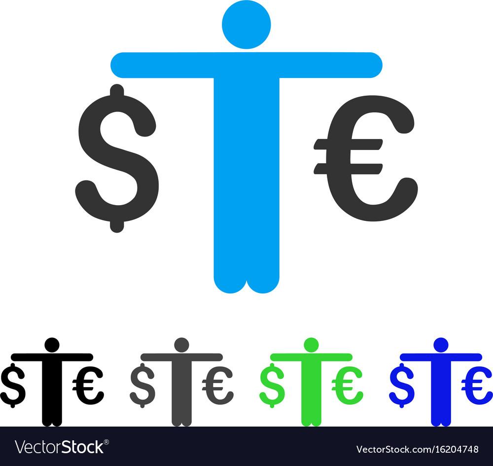 Person compare euro dollar flat icon