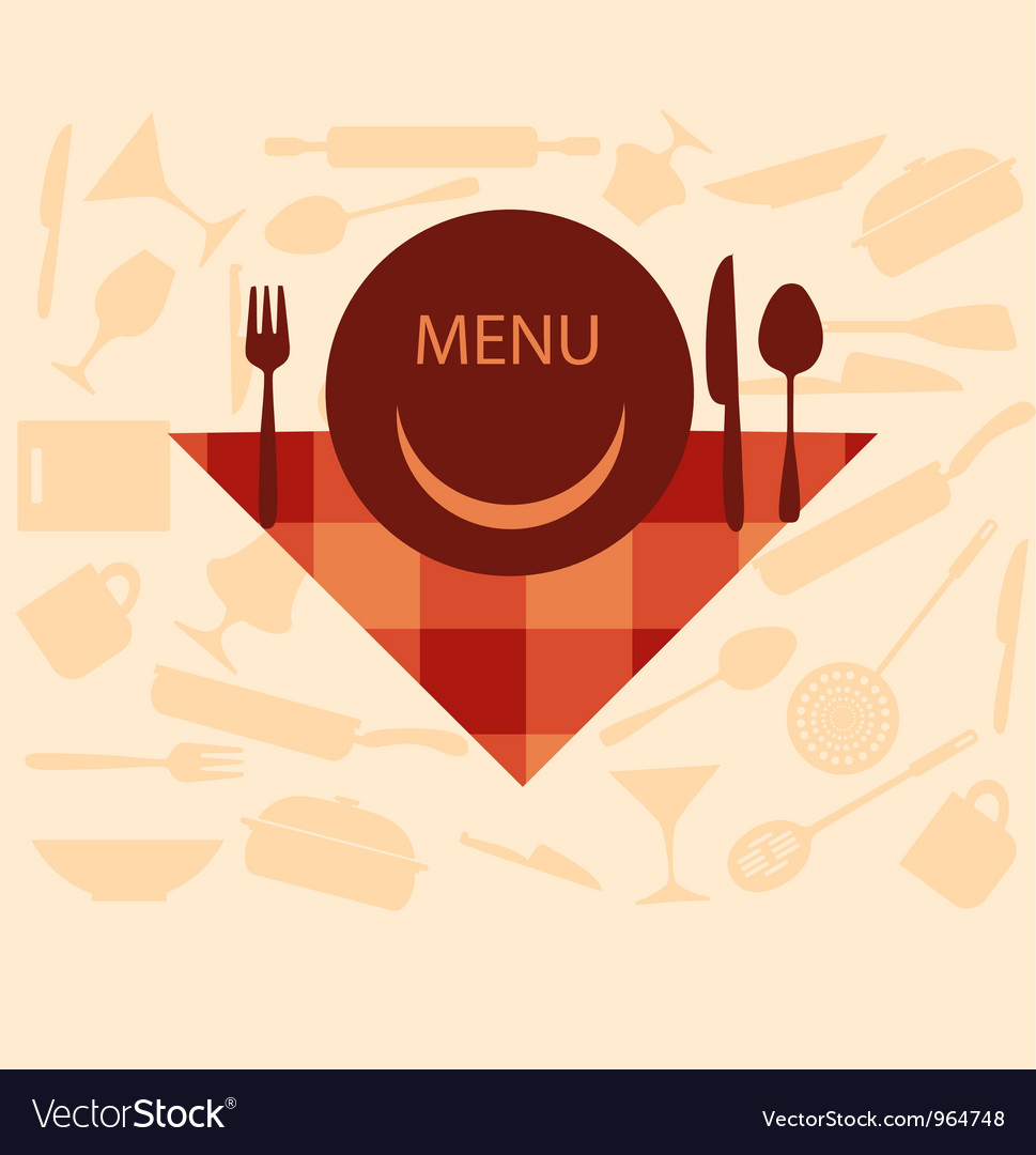 Restaurant menu design with smiley on plate