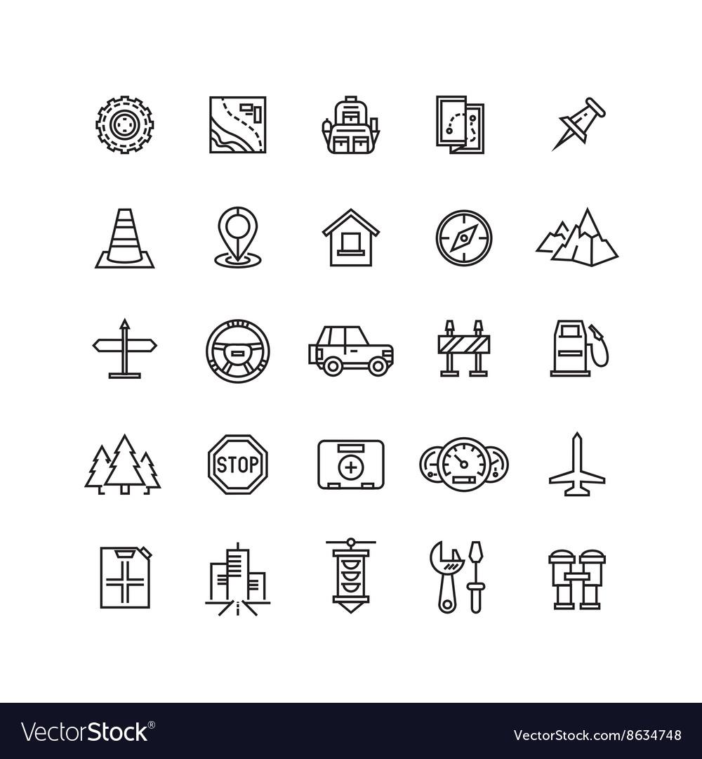 Road auto line icons