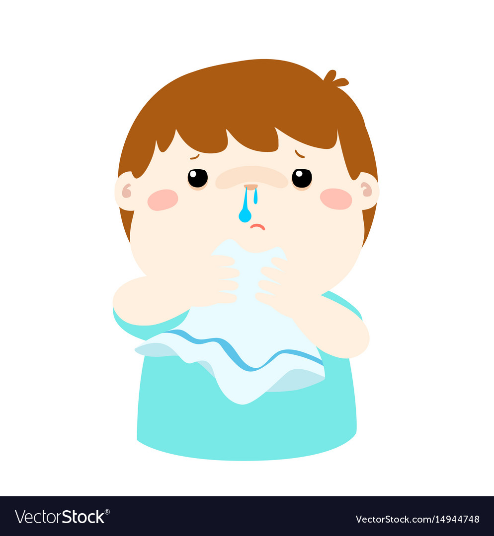 Sick Boy Runny Nose Royalty Free Vector Image Vectorstock