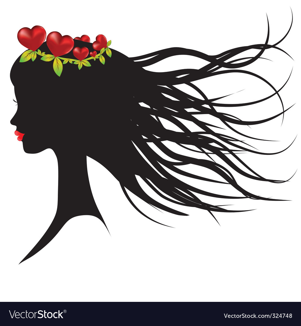 Silhouette of young woman vector image