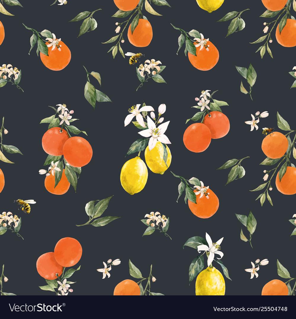 Watercolor citrus pattern