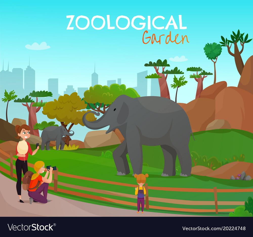 Zoological garden cartoon poster vector image