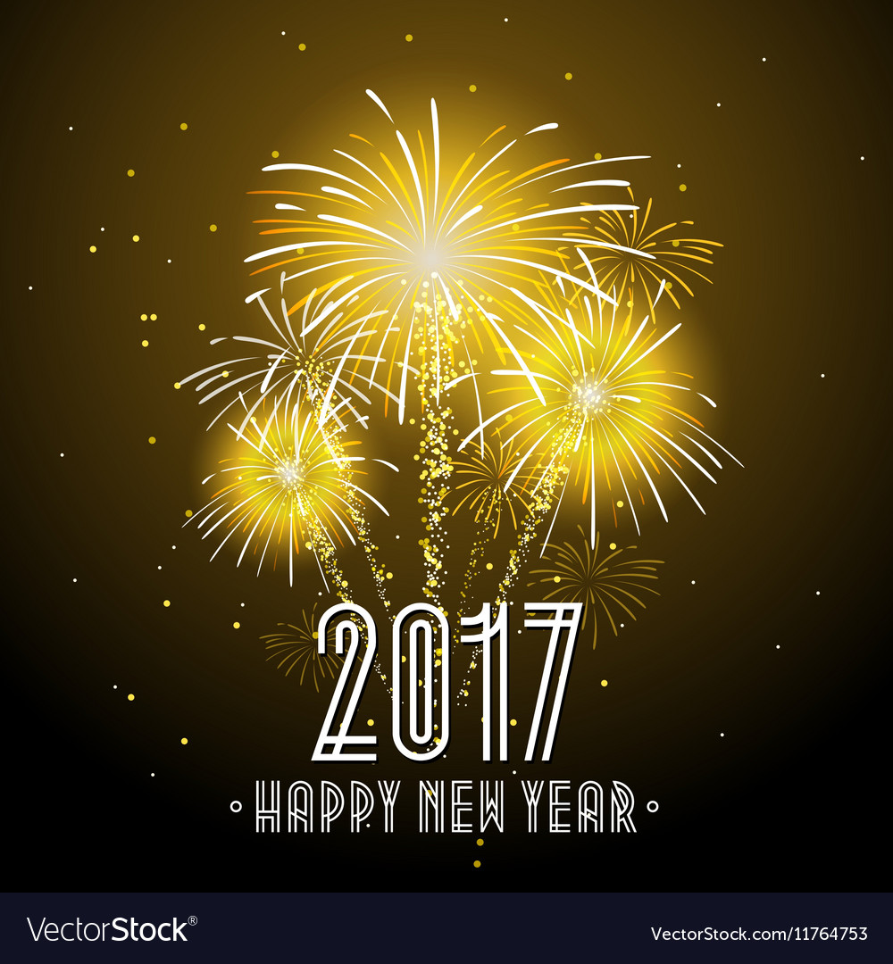 2017 Happy New Year Fireworks Night Background vector image