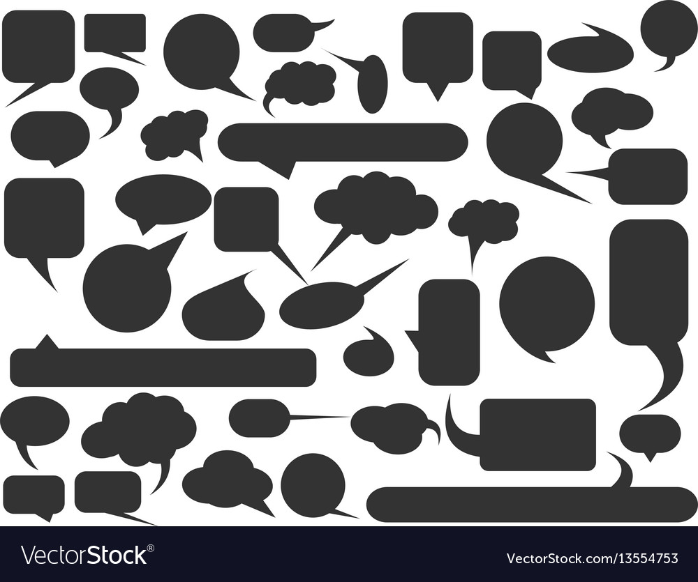 Blank empty speech bubble silhouettes set simple