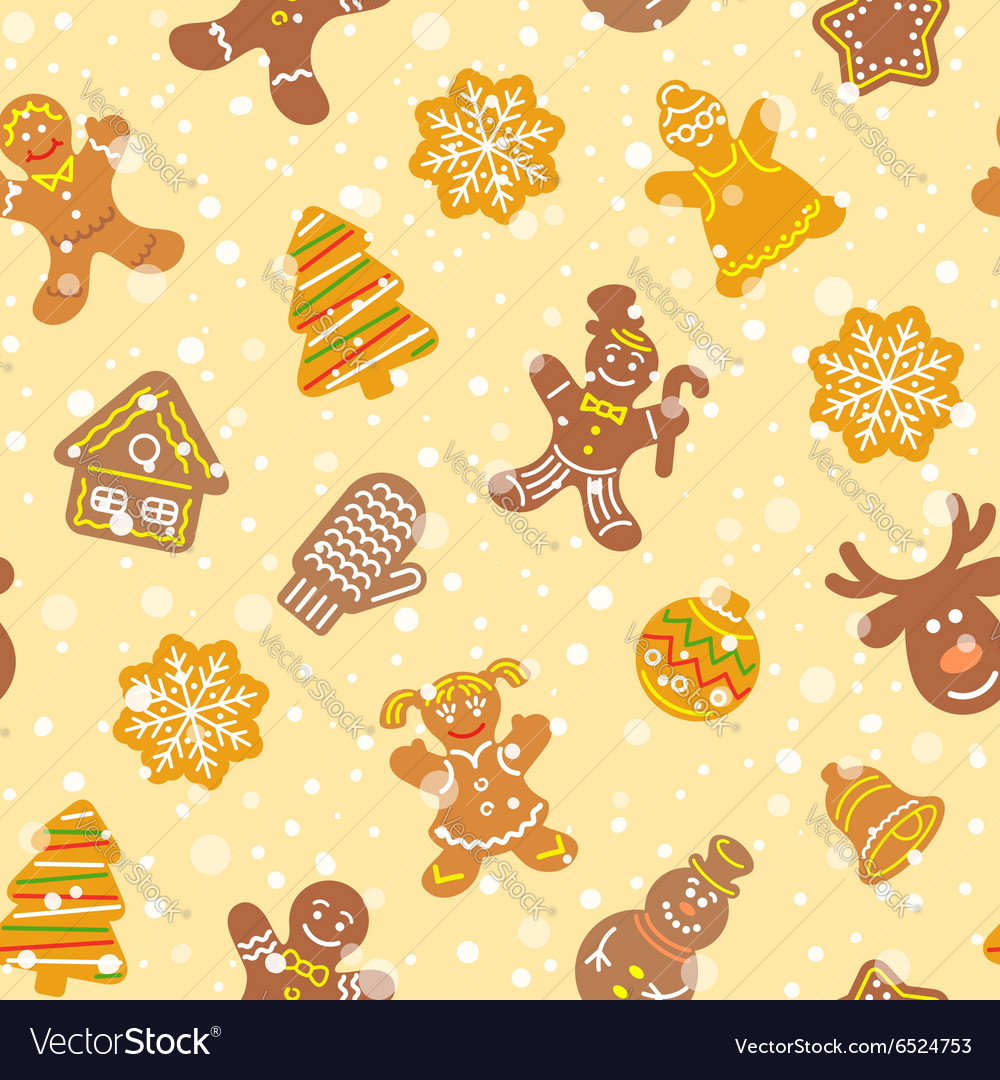 Christmas cookies flat icons seamless pattern