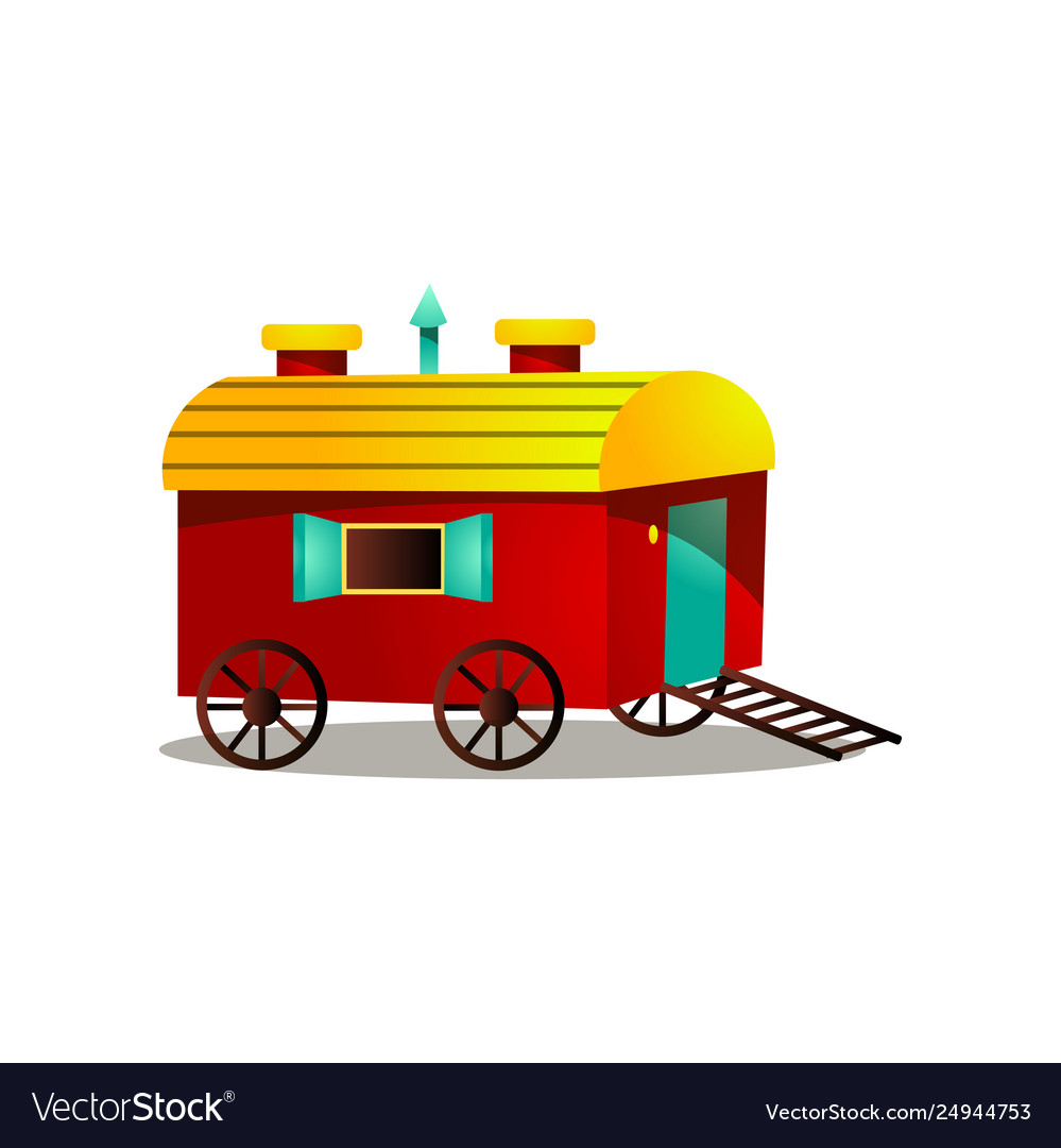 Circus horse cart with wood wheels and red yellow