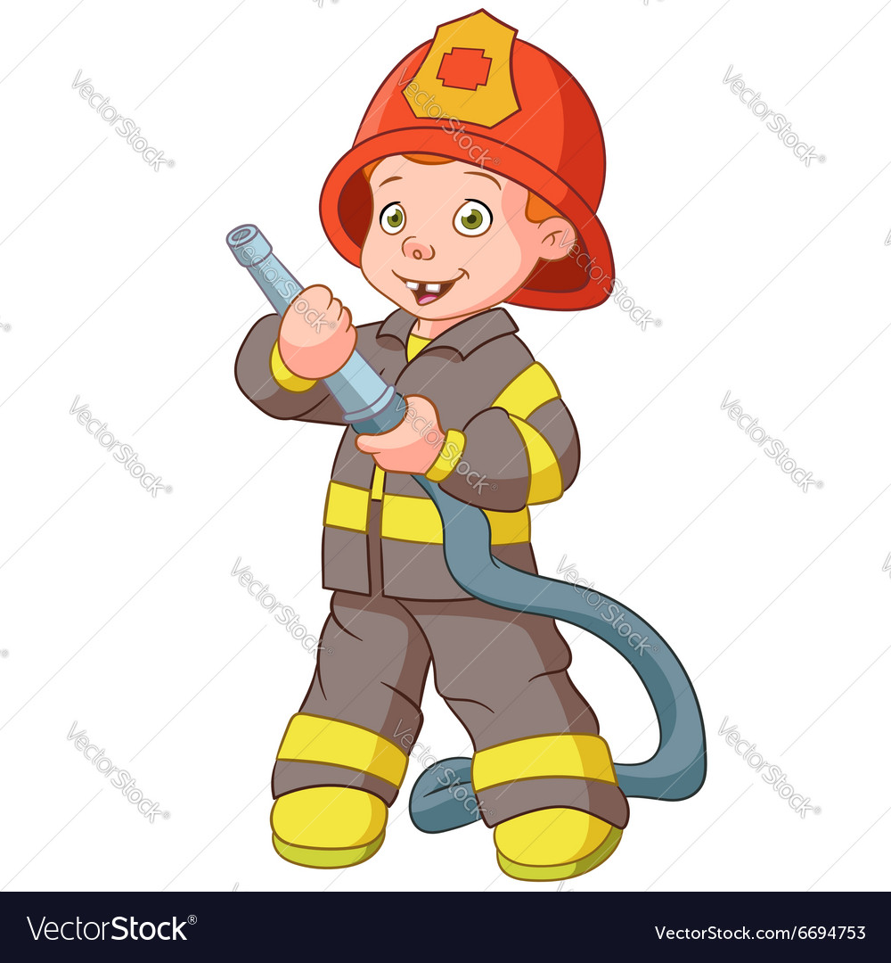Cute cartoon boy fireman