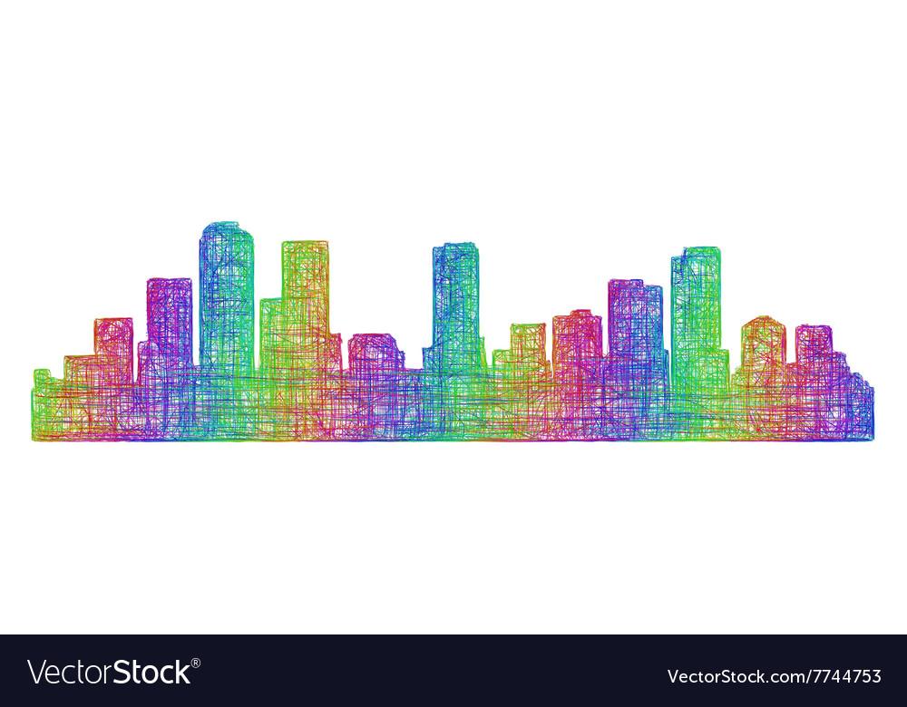 Denver skyline silhouette - multicolor line art