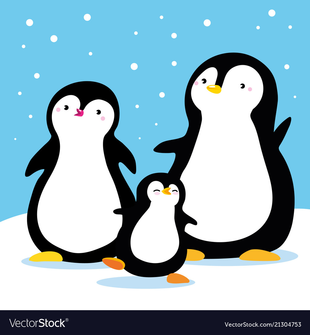 Family Penguins Under Snow Cartoon Family Vector Image