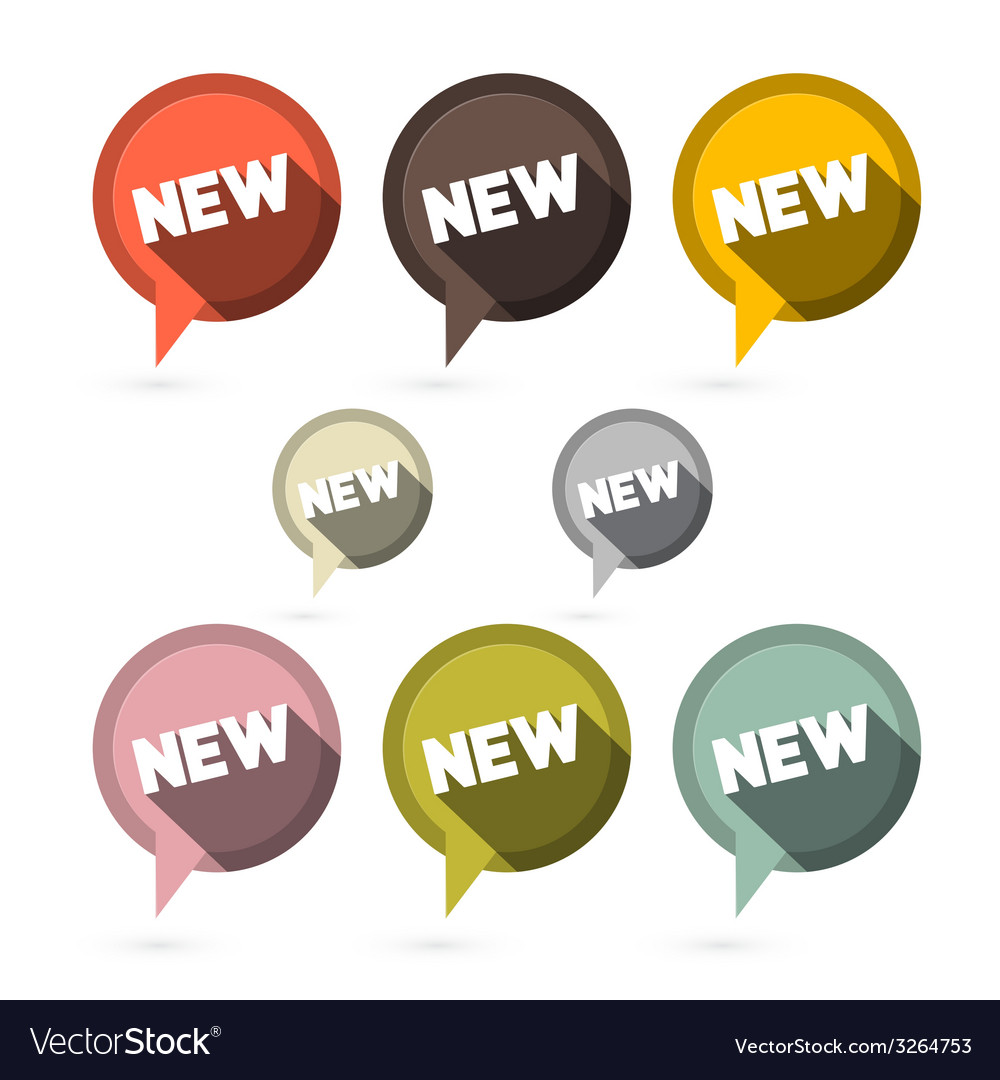 Flat design stickers labels set with new title vector image