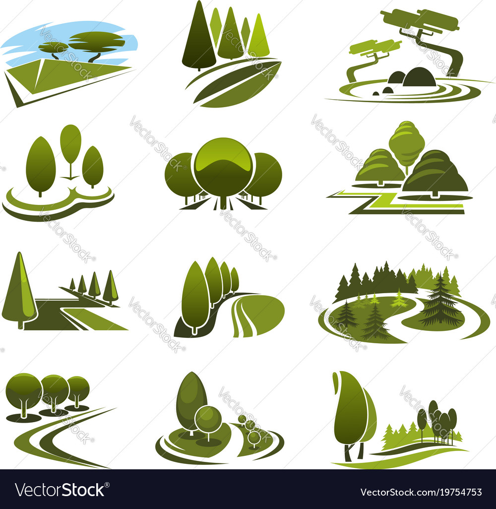 Icons For Green Landscape Eco Design Royalty Free Vector