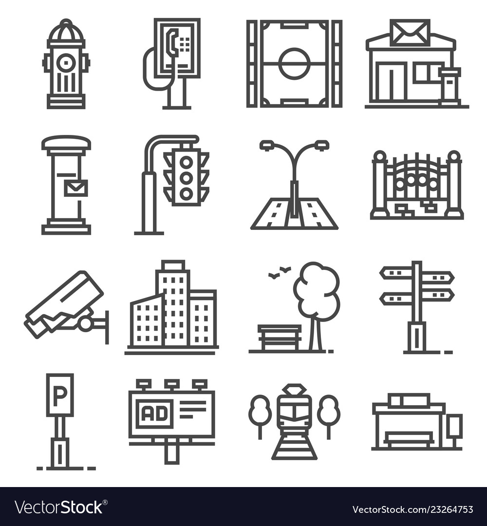 Line city elements icons set on white
