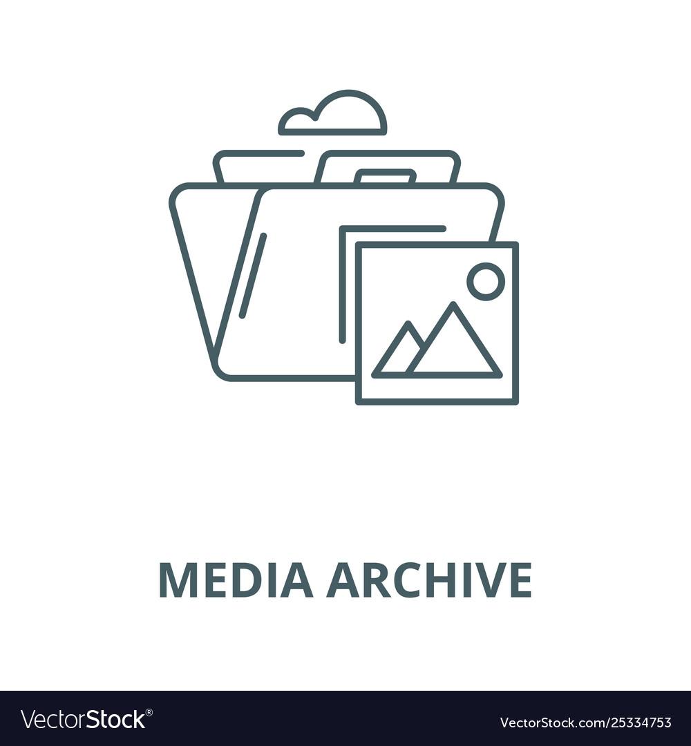 Media archive line icon linear concept