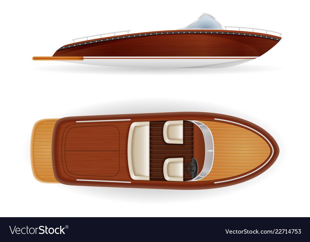 Motor boat vintage old retro made of wooden