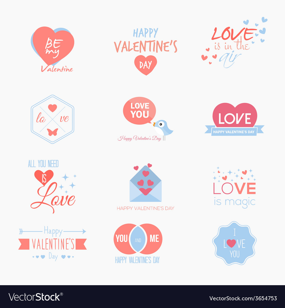 Valentine badges and labels