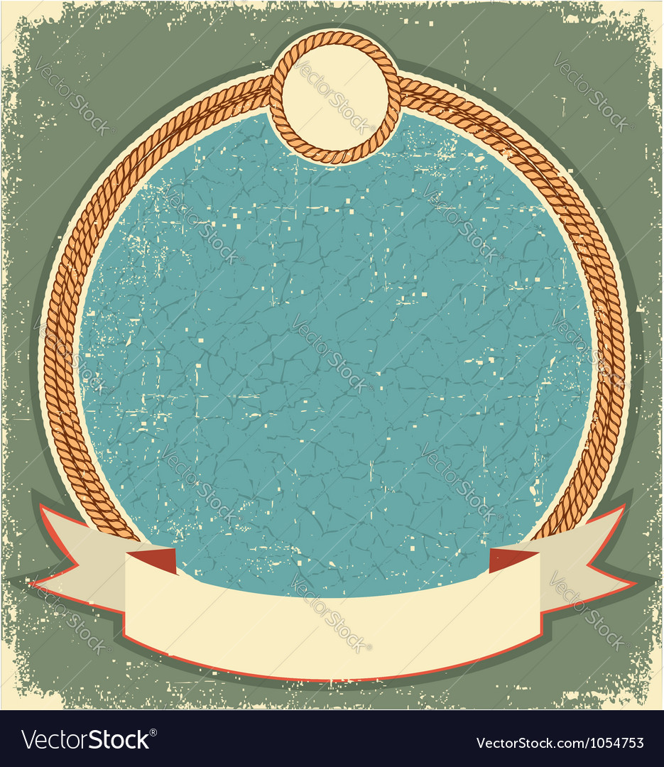 Vintage label for text with rope frame vector image