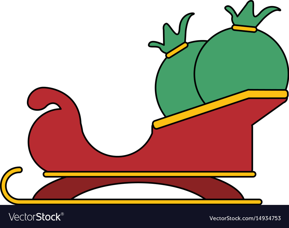 White background with santa claus sleigh with bags vector image