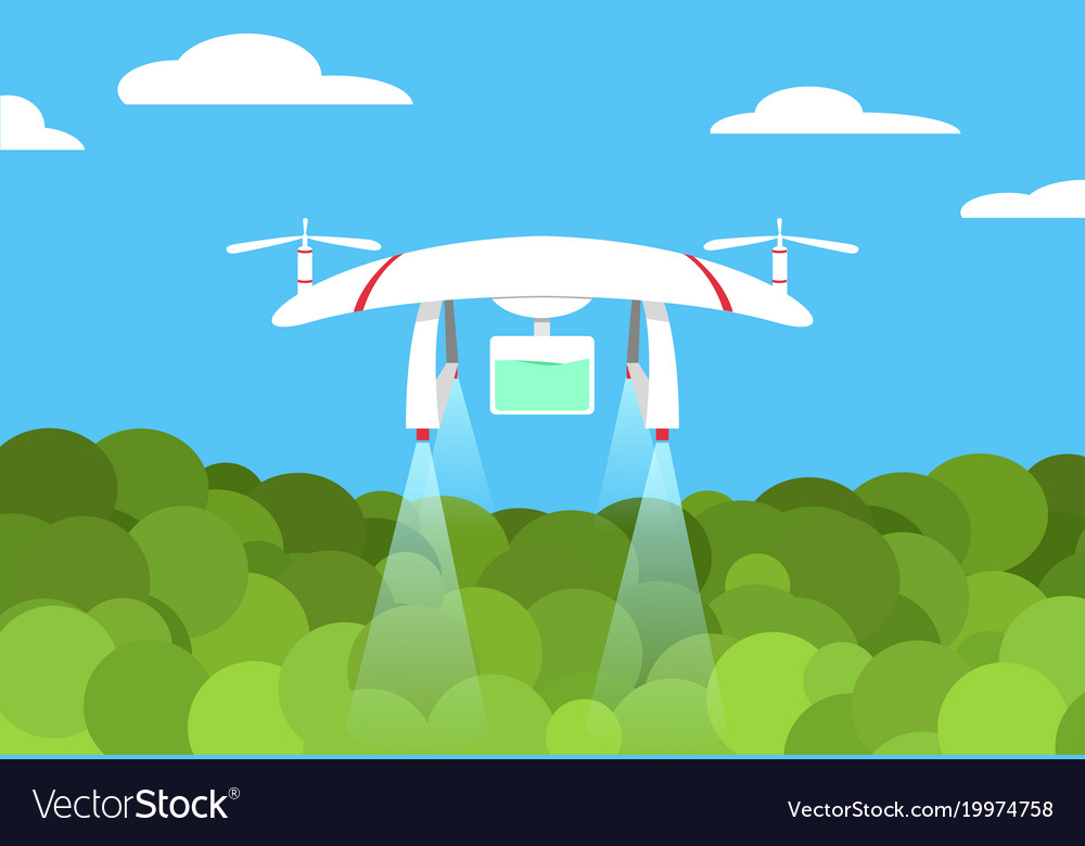 Agriculture drone flight on forest design vector image