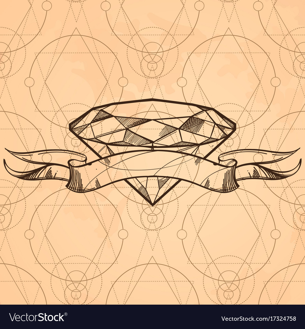 Contour image of diamond and ribbon sketch style vector image