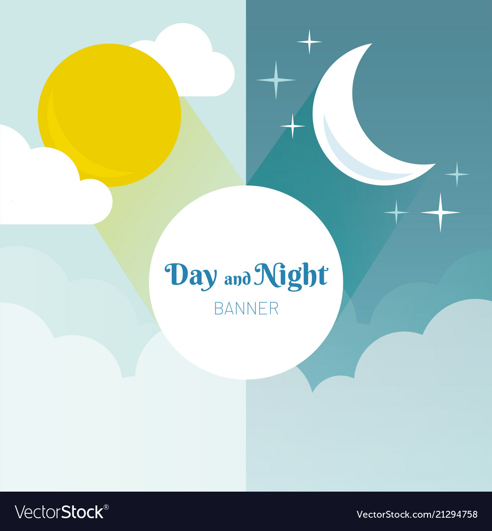 Day and night layout sun moon stars and clouds