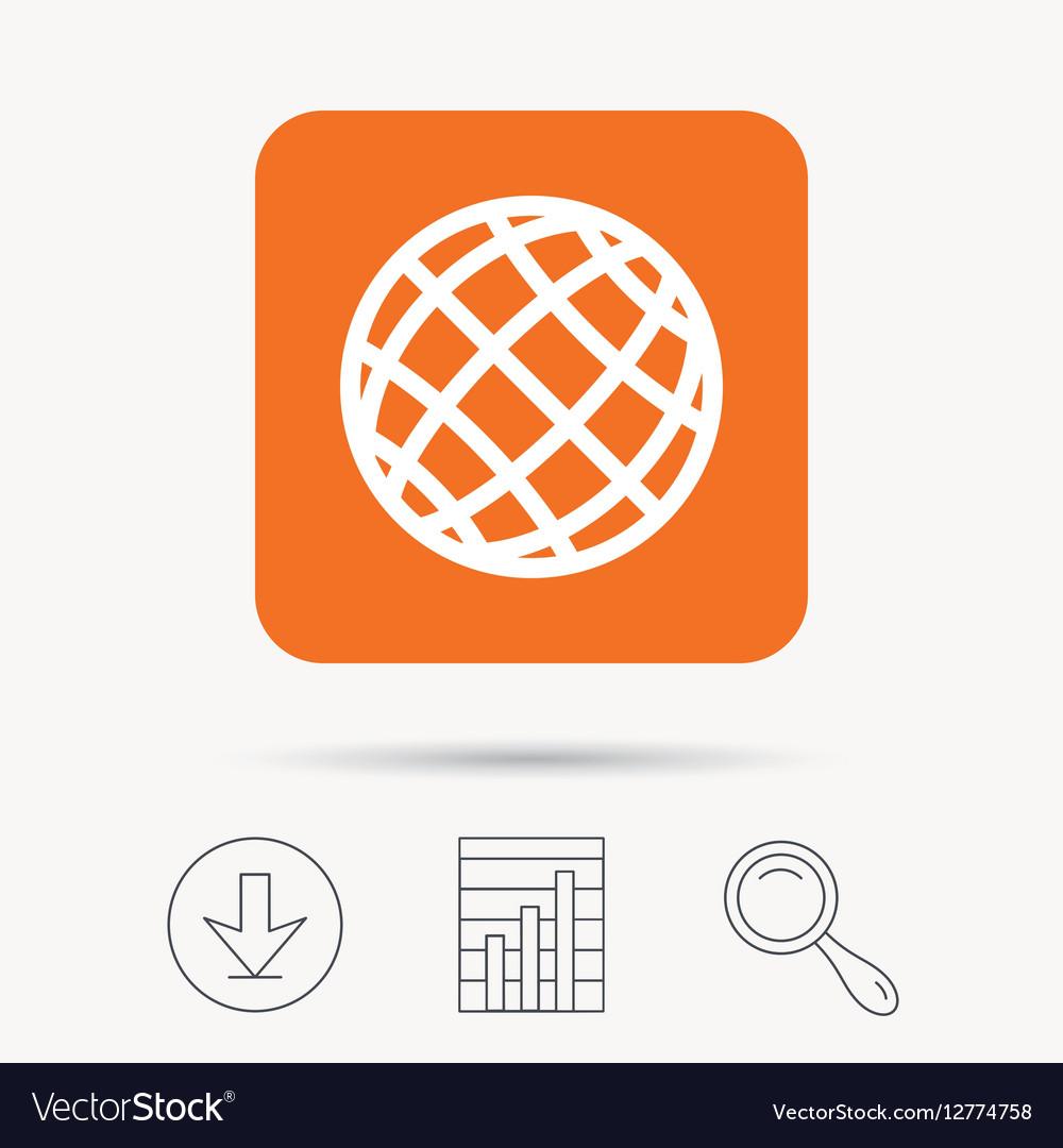 Globe icon World or internet sign vector image on VectorStock