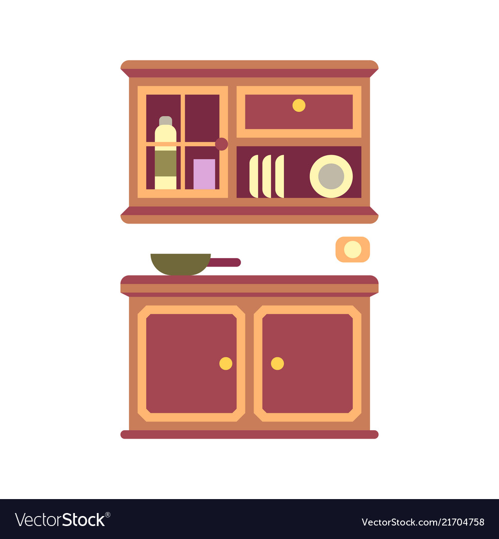 Kitchen Cabinet Flat Icon Royalty Free Vector Image