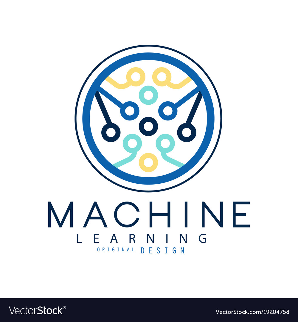 Machine learning icon in circle shape computer vector image