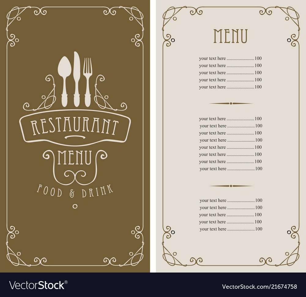 Menu for restaurant with price list and flatware
