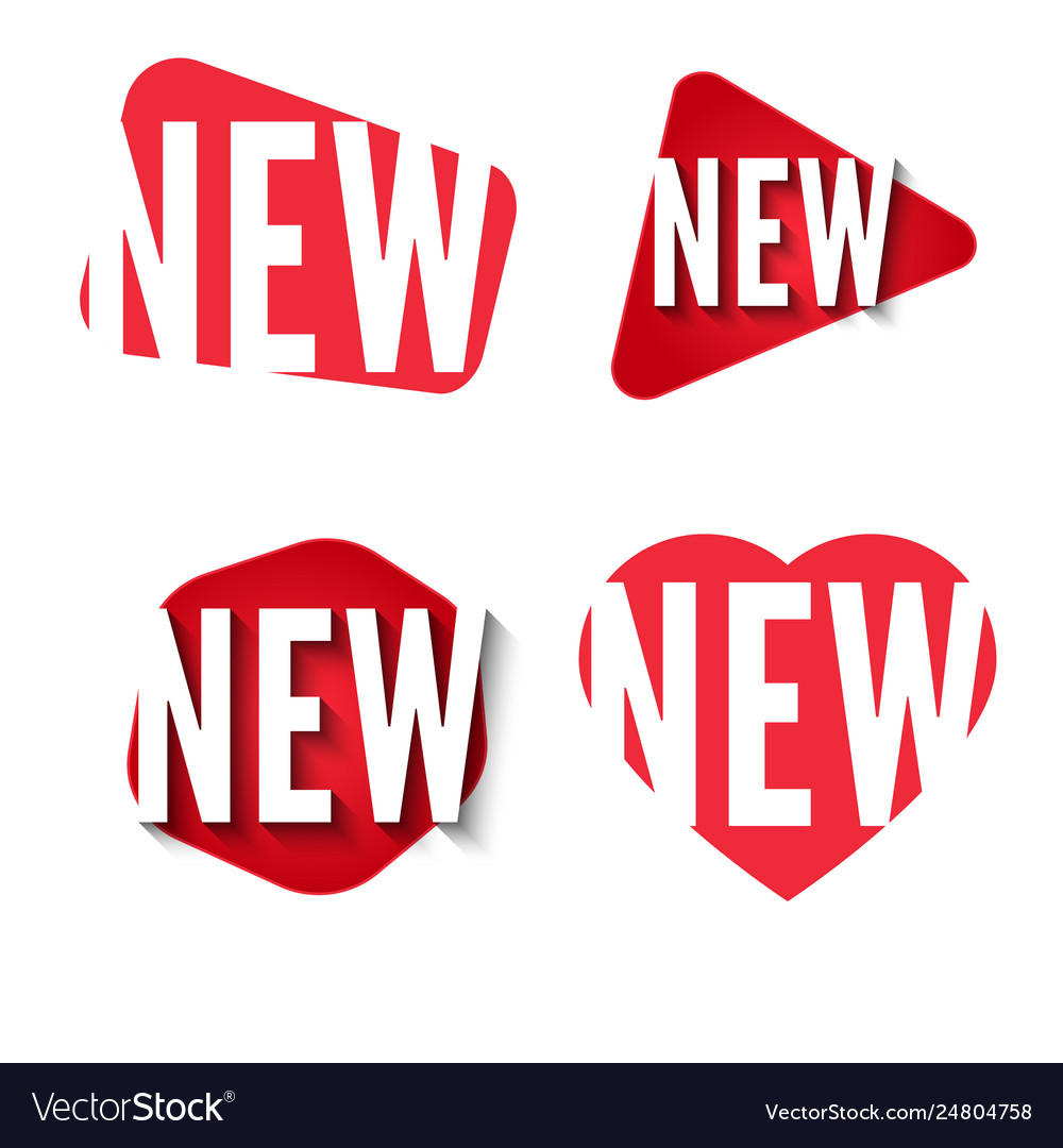New stickers collection set red labels vector image
