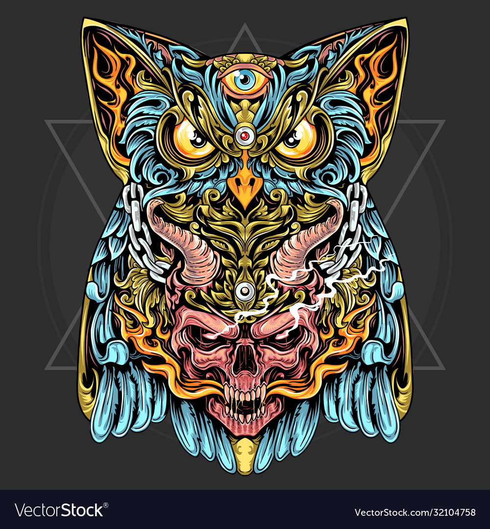 Owl and skull with horn and fire ornament