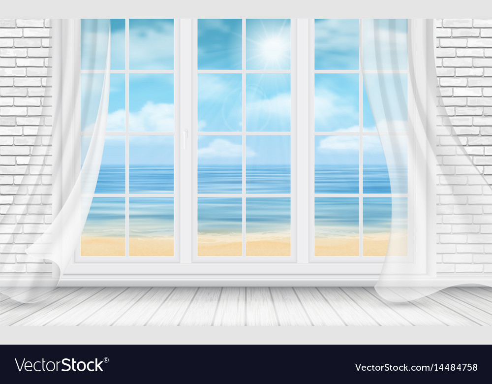 Room with white brick wall and window vector image