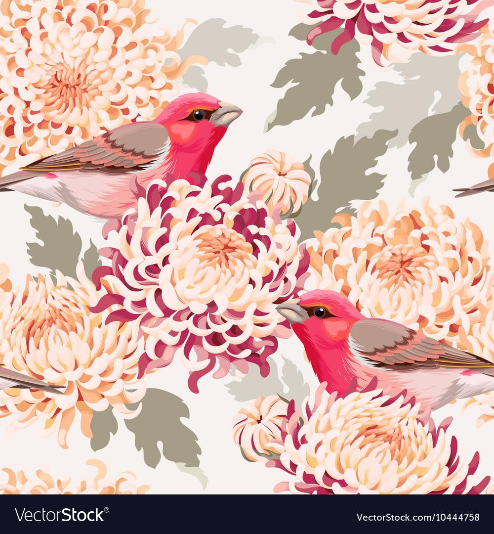 Seamless chrysanthemum and birds vector image
