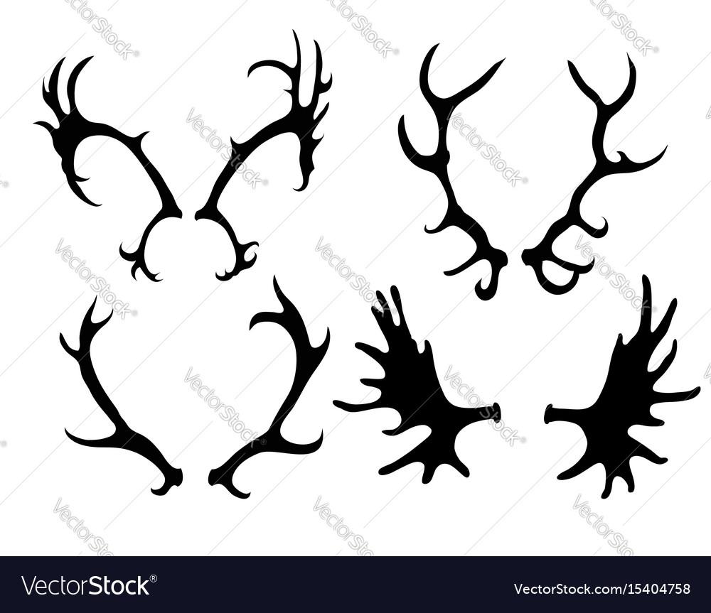 Set of silhouettes of deer and elk horns