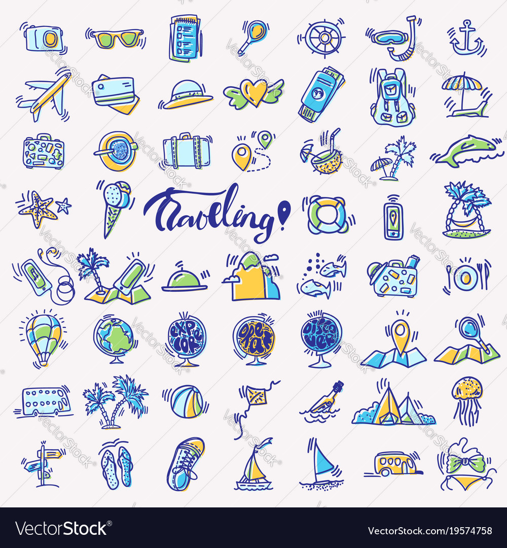 Travel hand draw icons icon lined cartoon