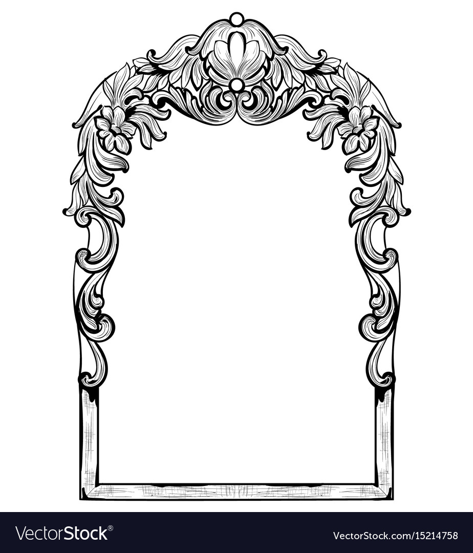 Vintage imperial baroque mirror frame Royalty Free Vector