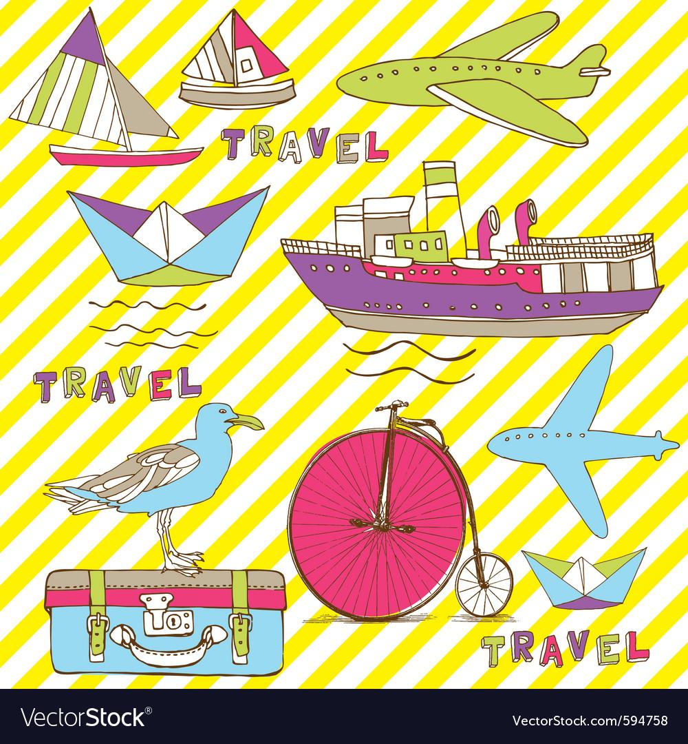 Vintage Travel Wallpaper Vector Image