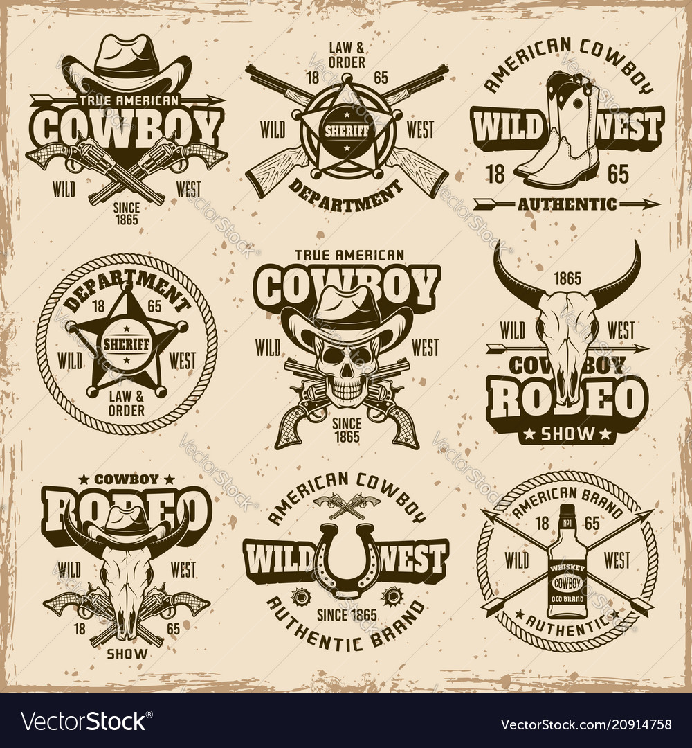 Wild west and cowboys set of emblems